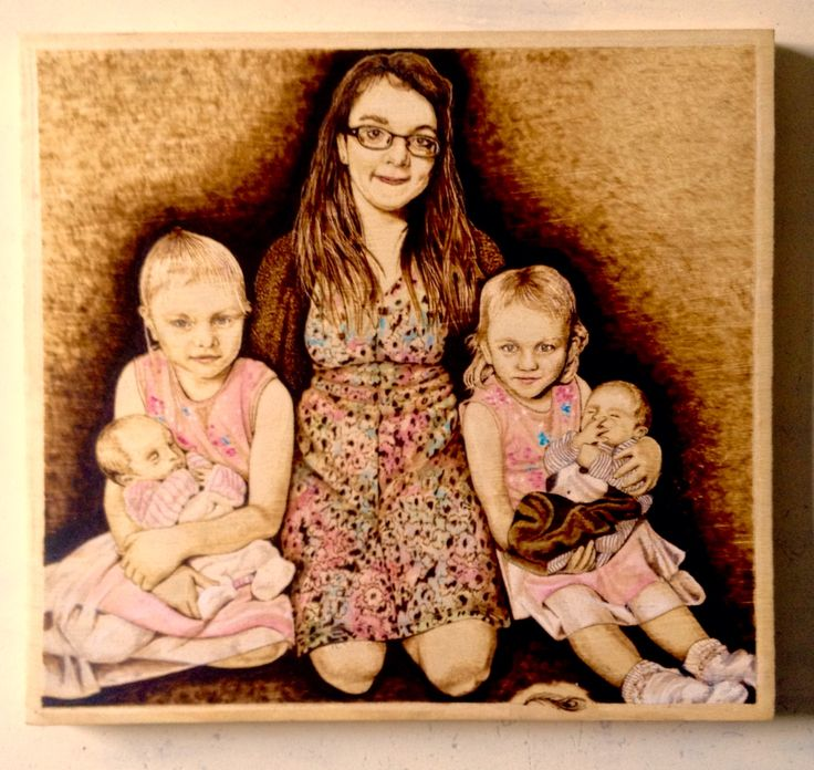 Family pyrography portrait by Martin peacock