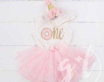Dona equipo de cumpleaños, chica de traje de primer cumpleaños, cumpleaños de oro rosa, primer cumpleaños rosado y oro vestido, sin mangas, lunares