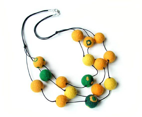 Felted necklace felt necklace felted balls felt balls yellow