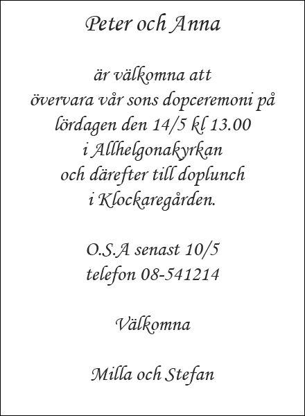 Inbjudningskort dop, exempel 1. Dopguiden.se