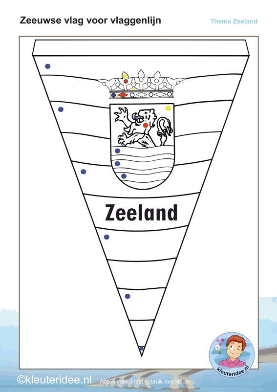 Zeeuwse vlaggenlijn,ieder kind maakt een vlag,  thema Zeeland voor kleuters, kleuteridee, free printable.