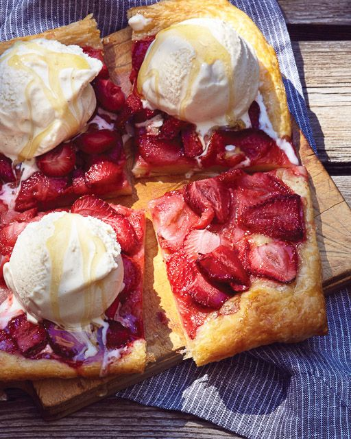 Strawberry Pizza with Ice Cream and Honey