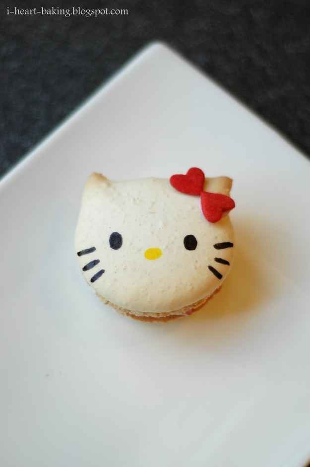 Hello Kitty Macaron   25 Hello Kitty Foods That Are Almost Too Adorable To Eat