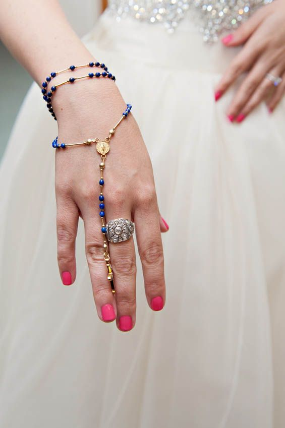 "Rosary bead bracelet as the bride's ""something blue"""