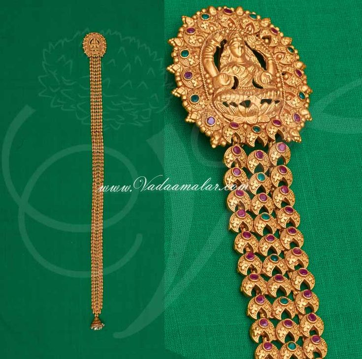 Antique Lakshmi design hair choti in ruby and emerald stones