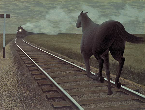 Canadian Artist Alex Colville, 1954, Horse and Train