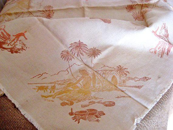 Vintage Hawaii  Aloha Tablecloth and Napkins