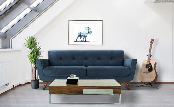The Shelby Sofa in Deep Water Blue Fabric, a mid-century modern classic, is not only stylish but comfortable with custom cushion firmness.  Customize one today. Duck down available.   Made in Canada.  By Kavuus.com