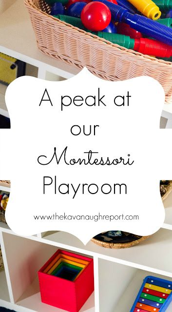 A Peak at Our Montessori Playroom -- a look at our Montessori inspired mixed-age play space for a 4-year-old and a 1-year-old. Ideas for activities, materials and toys.