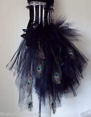 NEW Burlesque Bustle Black Peacock Feather Tutu Belt XS S M L XL Sexy Halloween