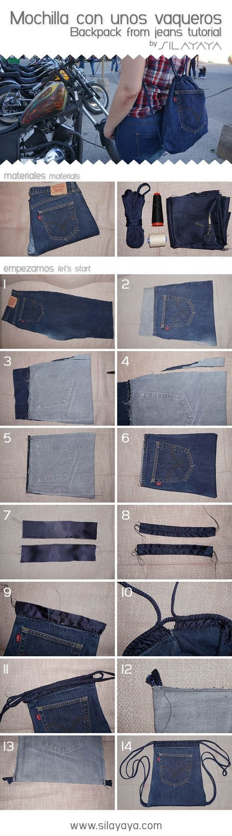 Tutorial mochila vaquera hecha con unos Levis. Backpack from jeans DIY #vaqueros