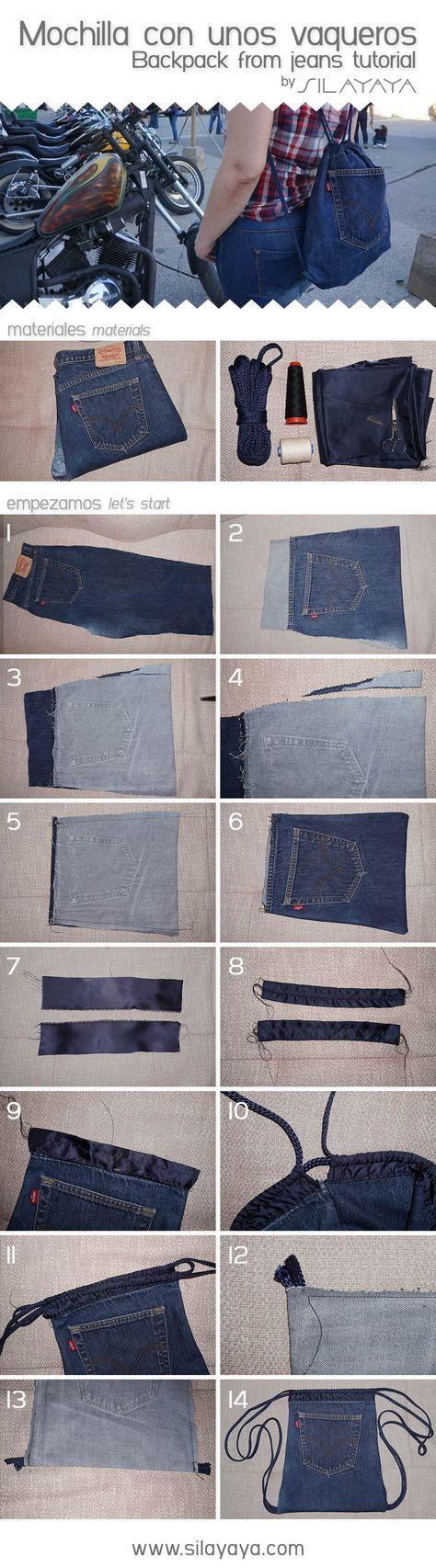 Tutorial mochila vaquera hecha con unos Levis. Backpack from jeans DIY #vaqueros