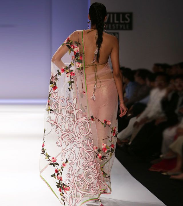 Ivory Blush Ombre Net Saree with Velvet Patchwork
