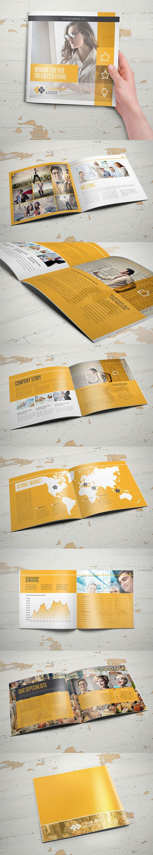 I'm a fan of the aged wood background in these. | Multipurpose Business Square Brochure Template