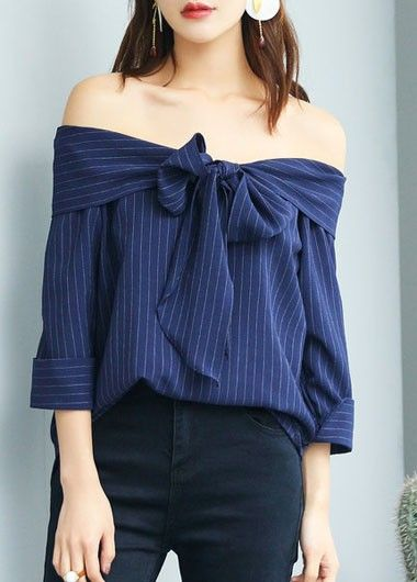 Boat Neck Bowknot Embellished Stripe Print Shirt on sale only US$27.12 now, buy cheap Boat Neck Bowknot Embellished Stripe Print Shirt at modlily.com