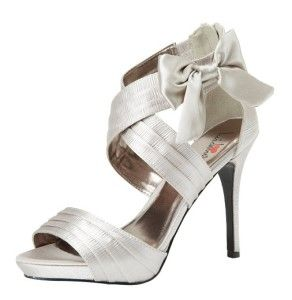 Cute cheap high heel silver wedding shoes with bow - Free shipping