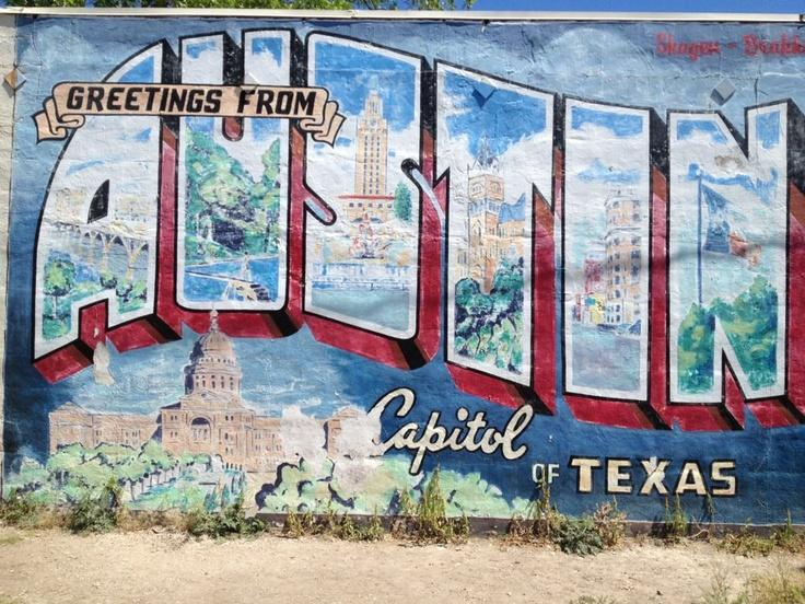 Austin postcard mural austin pinterest for Austin postcard mural