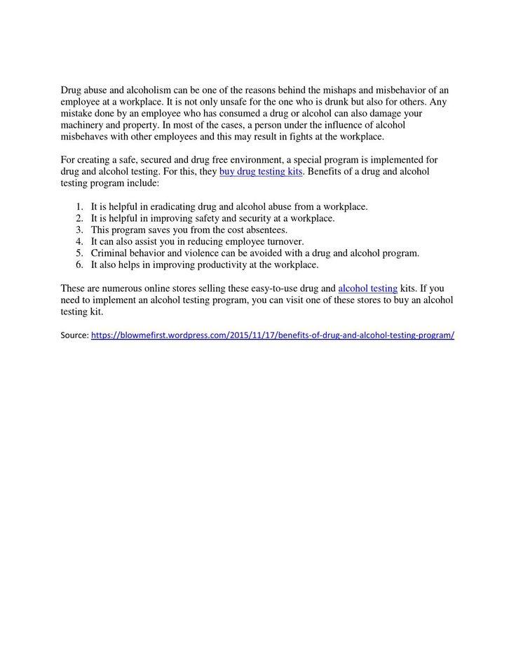Benefits of drug and alcohol testing program!