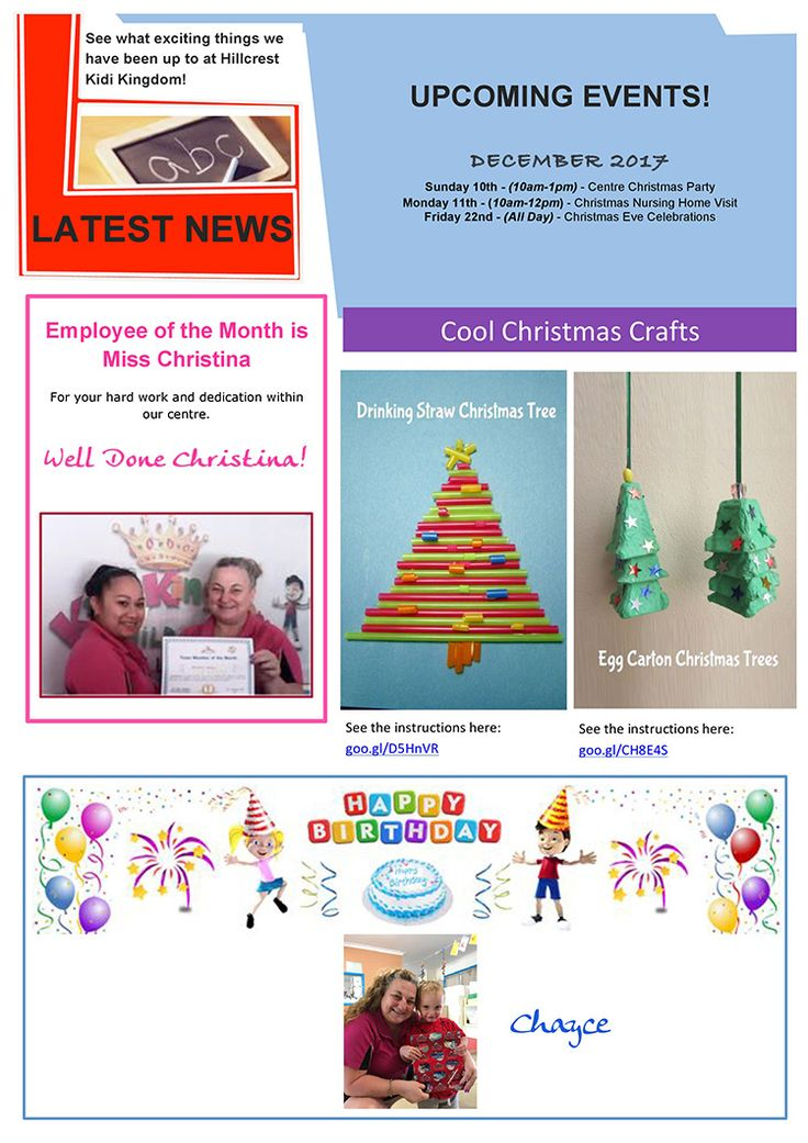 Welcome to the November / December Edition of Kidi Kingdom - Hillcrest News.  #Newsletter #ChildCare #Kindergarten #ChildrenFun #HappyChildren