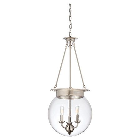 Cast a warm glow over your entryway or dining room with this lovely pendant, showcasing a glass globe shade and polished nickel finish.