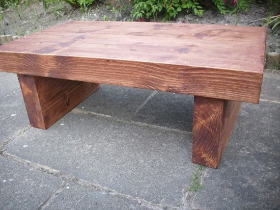Rustic plank chunky thick solid wood coffee table on Etsy, $198.05