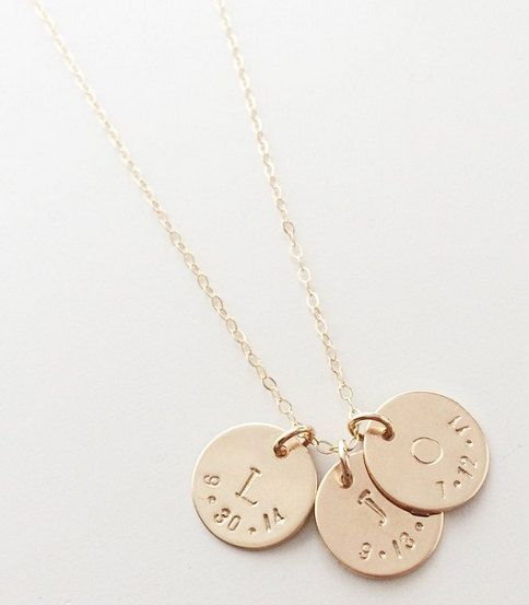 The Brooklyn. Initial and date necklace by BipAndBop on Etsy