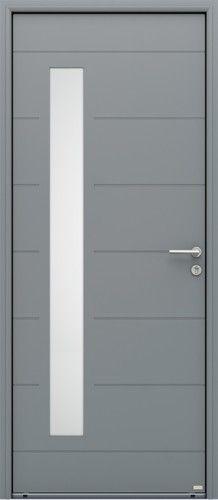 Modèle Albe Porte d'entrée aluminium contemporaine mi vitrée Vitrage vertical toute hauteur affleurant sans cadre de vitrage, vitrage sablé non sérigraphié, poignée rosace contemporaine Bel'M, barillet standard. Compatible avec le SFX Surface.