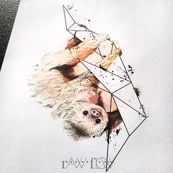 Sloth tattoo watercolor dotwork rib