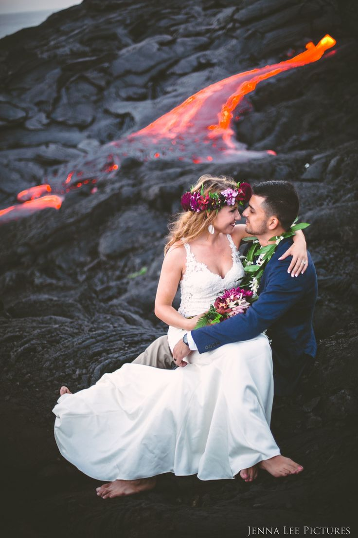 These Adventurous Newlyweds Posed For Wedding Pics On A Molten Hot Lava Volcano