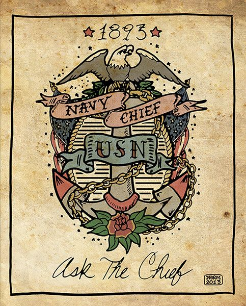 US Navy Chief Tattoo Print 8x10 UNFRAMED by Nito71 on Etsy