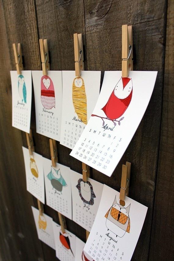 2012 Illustrated Owl Calendar by Gingiber PRE-ORDER $21