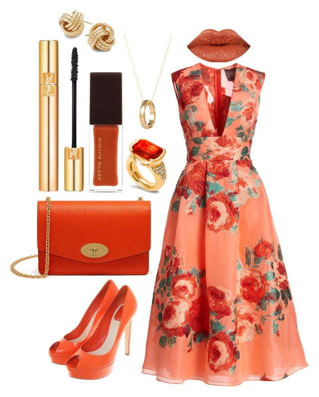 """Warmth"" by theodor44444 ❤ liked on Polyvore featuring Lela Rose, Christian Dior, Hargreaves Stockholm, Mulberry, Yves Saint Laurent, Kevyn Aucoin, Saks Fifth Avenue, gold, red and orange"