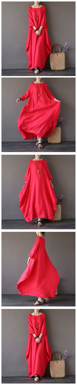 RED BAT SLEEVE CAUSEL LONG DRESS PLUS SIZE OVERSIZE WOMEN CLOTHES