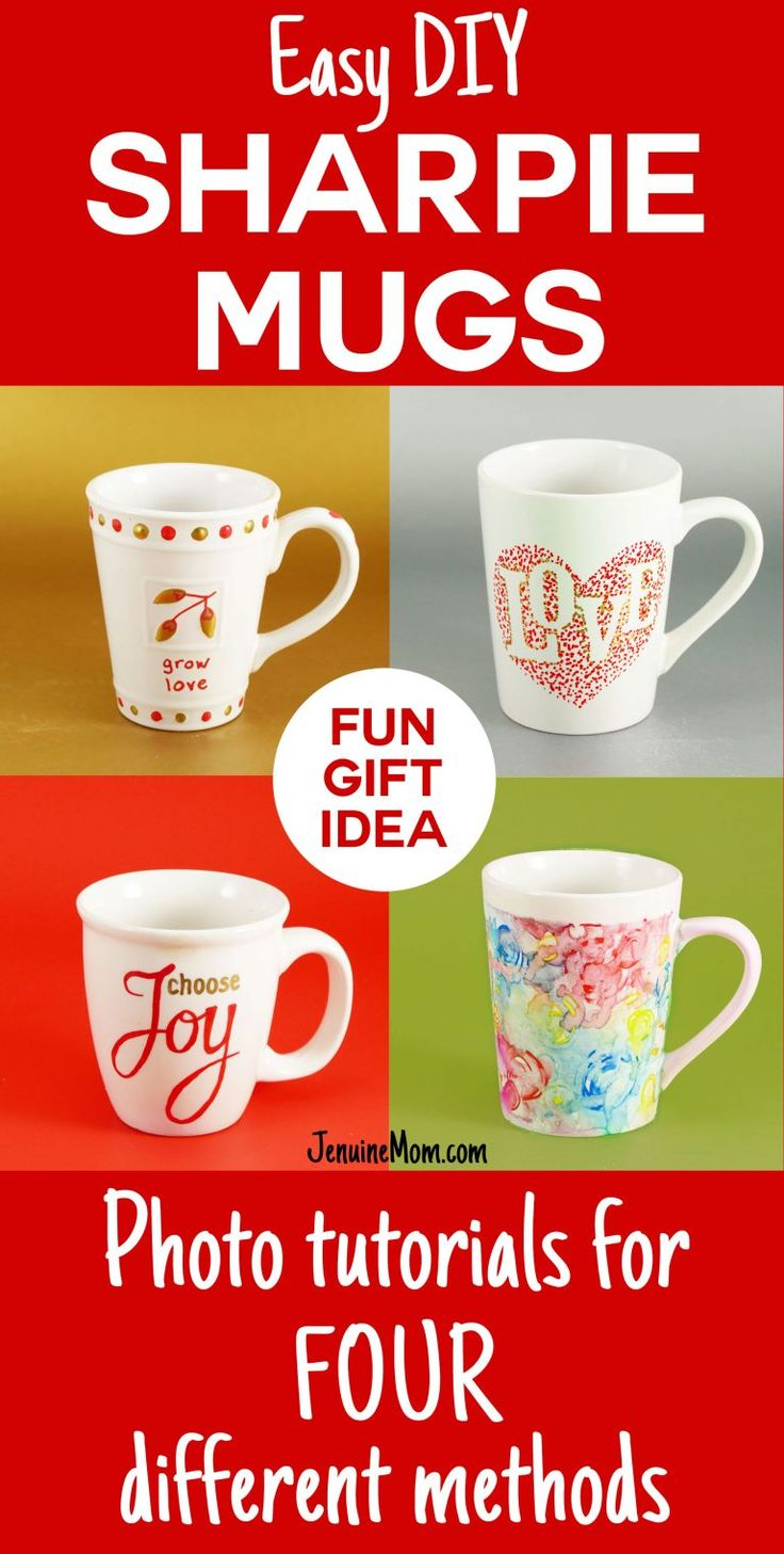 Fun gift idea! DIY Sharpie Mugs Tutorial | JenuineMom.com
