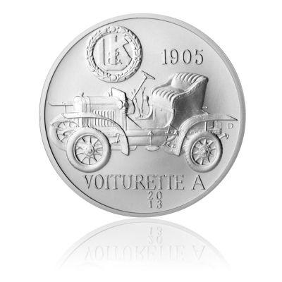 Stříbrná medaile Laurin Klement Voiturette A stand   Česká mincovna