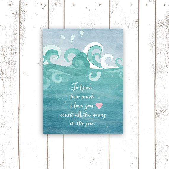 Nursery Quote Art Print - Ocean Waves Typography - Count All the Waves in the Sea