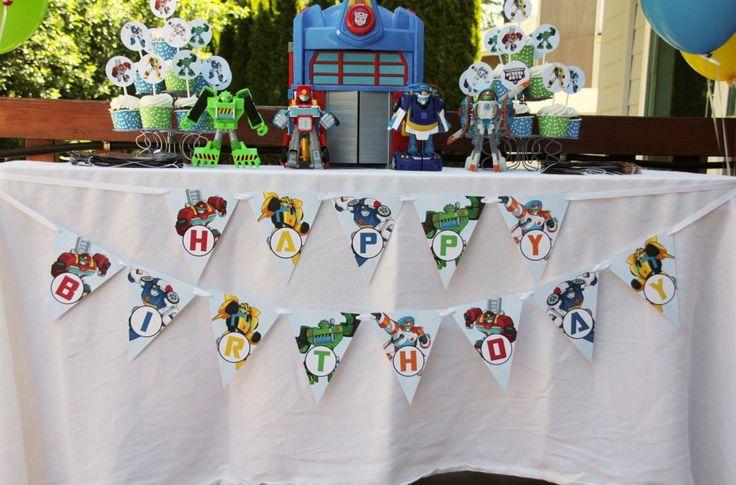 Rescue Bot Happy Birthday Banner FREE Printables