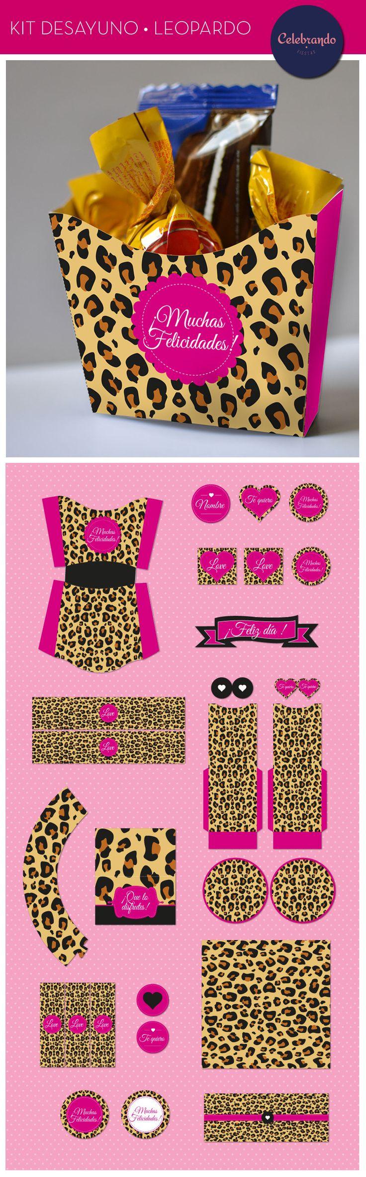 Kit imprimible desayuno para adultos - Leopardo. Celebrando Fiestas.