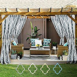 Quatrefoil Printed Curtain Panels For Gazebo Porch Moroccan Tile Canvas  Lattice Waterproof Outdoor Curtains For Pergola
