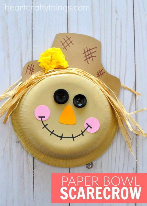 Adorable paper bowl scarecrow craft that is perfect for a fall kids craft and harvest kids craft. Fun fall theme bulletin board ideas for the classroom.