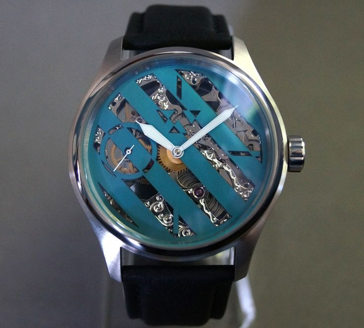 Hazard Skeletonized Wristwatch with anodized niobium dial