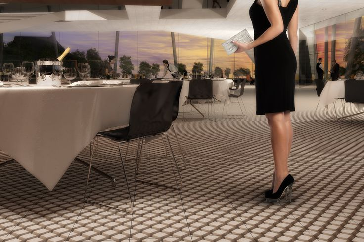 TOP TILE – a brand new flooring concept for public areas.  Make your own design from a photo or choose from our fancy collection.  Product: Top Tile Design: Cube
