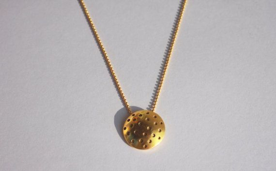 Polka dots pendant / gold plated by Mesdames on Etsy