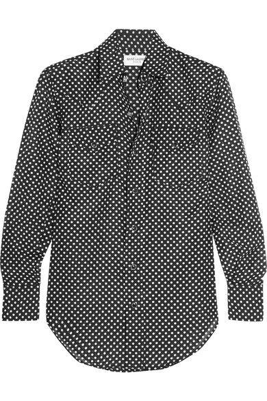 Saint Laurent - Polka-dot Cotton And Silk-blend Shirt - Black - small