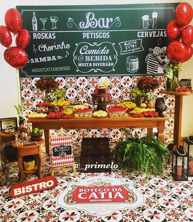 Painel estilo lousa para Festa Boteco | Produção: Priscila Melo | Arte: Quero uma festa