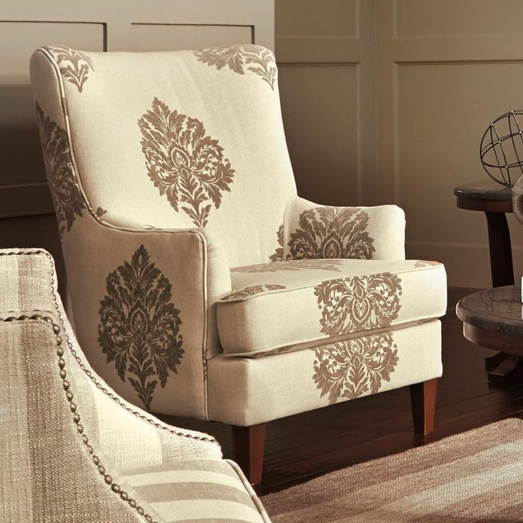 This Brown Beige Damask Chair Is A Chic Standout Piece Matching Sofa