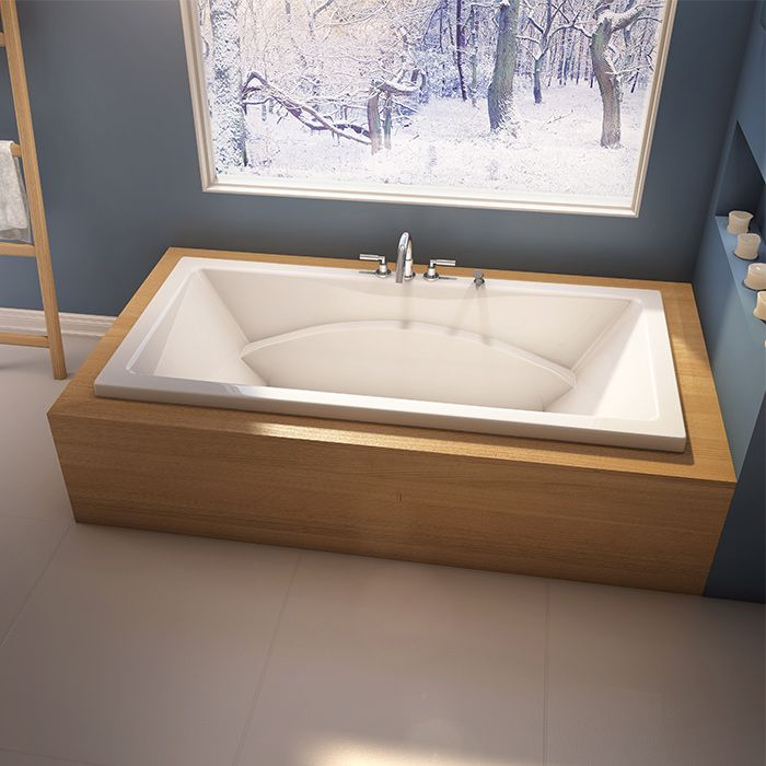 Stylish bathroom with Alcove's modern bathtub with podium style / Caprice Collection