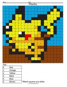 My kids love these!  Color by number printable sets - Pokemon Pikachu- Basic Subtraction Answer Key
