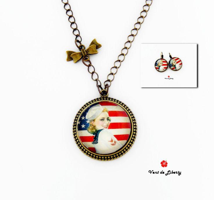 Parure cabochon en métal bronze motif drapeau américain rétro-vintage modèle…