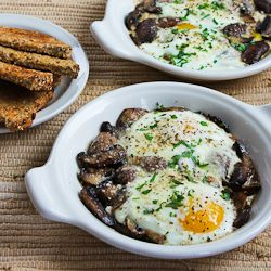 Mushrooms with Baked Eggs and Parmesan